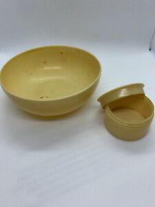 bakelite jar And Finger Bowl ivory pyralin