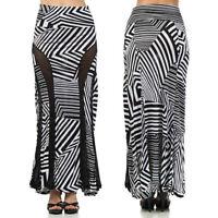 Maxi Skirt Striped S M L Banded Fold Over High Waist Sheer Panel Black White New