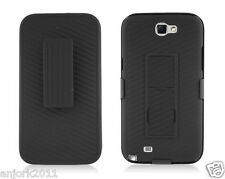 Samsung Galaxy Note II 2 N7100 Back Cover Case + Holster Combo w/ Stand Black