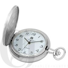 New Charles-Hubert Brass Hunter Case Chrome Mechanical Pocket Watch 3841-W