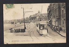 LE TREPORT (76) TRAMWAY publicité PICON aux COMMERCES Place Carnot animé en 1907