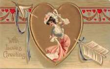 With Love's Greeting young lady bonnet arrow through heart antique pc Z39265