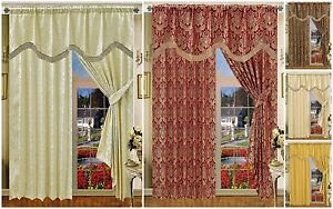 Fully Lined Readymade Top Quality Jacquard Amazon Curtains With Pelmet &Tie Back