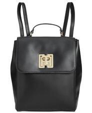 Tommy Hilfiger NWT $198 Gold Logo Twist Lock Black Leather Backpack Top Handle X