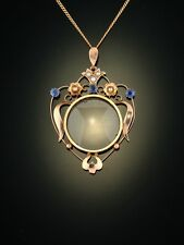 GENUINE EDWARDIAN NATURAL SAPPHIRE AND PEARL LOCKET PENDANT