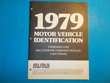 1979 Motor Vehicle Identification Passenger Cars & Light Trucks Manual