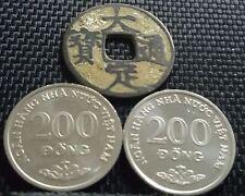 """Ancient VietNam """"Da Ding Tong Bao""""& 2pcs 200Dong coin Rare (+FREE 1 coin)#D1968"""