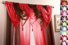 9 PIECE SWAG & VOILE PANEL CURTAIN SET ~ Many Colours & Sizes Available