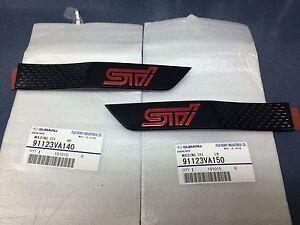 2015-16 Subaru WRX STi Side Molding Fender Badge Emblem SET Black w/ Red OEM NEW
