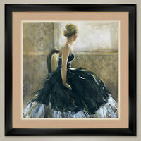 """35W""""x35H"""": GIRL IN BLACK DRESS by BRIDGES - SEAT - DOUBLE MATTE, GLASS and FRAME"""
