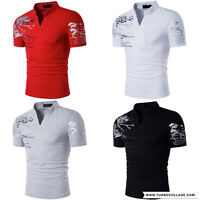 Mens Sport Fashion Short Sleeve Slim Fit Stand Collar Henley Casual Polo T Shirt