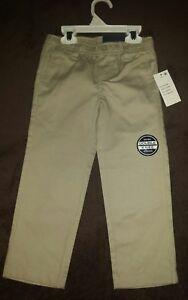 Boys Nautica $36 Uniform/Casual Khaki Flat Front Double Knee Pants Size 4 NEW