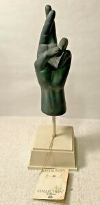 TMS Vitruvian Collection BLACK Fingers Crossed Hand Statue Table Sculpture NWT