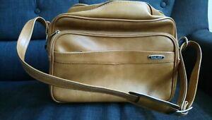Vintage Retro Tan Faux Leather Flight Bag Shoulder Bag Messenger- Revelation