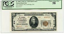 C12467- 1929 $20 TY2 CAMBRIDGE, MA FR#1802-2, CH#614 PCGS AU58