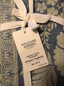 WILLIAMS SONOMA  JACQUARD BLUE FLORAL DINNER NAPKINS, SET OF 4