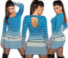 KOUCLA Vestito mini abito in maglia maglione lungo pullover Catenella sul retro
