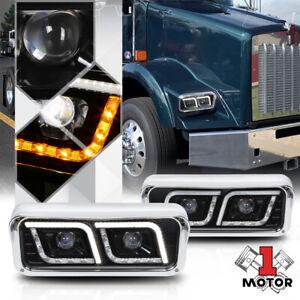 Black Projector Headlight [DUAL LED DRL] for 81-19 Kenworth T600A/W900 Peterbilt