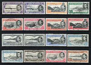 Ascension KGVI 1938-53 Selection of Used to 5s (All Different)