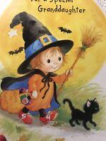 Unused Vintage Halloween Card W/envelope Granddaughter Black Kitten Girl Witch