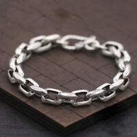 Pure 925 Sterling Silver Bracelet Classic 8mm Cable Link Bracelet For Men's