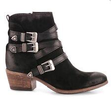 Miz Mooz Darien Boots In Black Suede and Leather, Western Cowboy Styling, 37