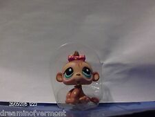 Littlest Pet Shop Brown Baby Monkey with Blue Eyes and Pink Pok-a-dot Bow