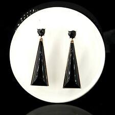 Pendiente`Orejas Pendientes Dorado Negro Triangle Corazón Geométrica Art Deco