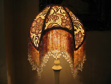 "Victorian French Med Princess Lamp Shade ""Slipper Pink""  Fringe And 6"" Beads"