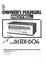 Rotel RX-604 Receiver Owners Instruction Manual