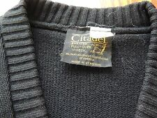 Citadel military sweater solid Black V-Neck Acrylic Size L