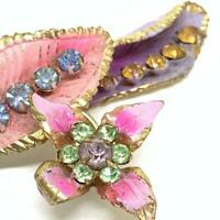 Vintage 1940s brass cold painted enamel and rhinestone brooch EPJ21