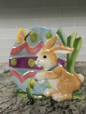 Fitz and Floyd Painting Easter Eggs Canape Plate