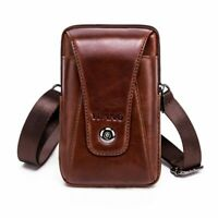 Men's Small Wallet Genuine Leather Cowhide Vintage Belt Phone Pouch Waist Bags