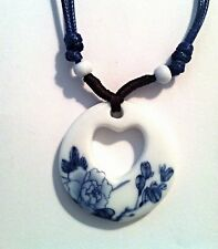 Ethnic Choker Necklace in Blue Peony Flower and Heart Design in Ceramic Pendant