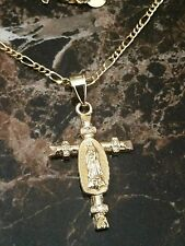 KIDS GOLD LAMINATED  NECKLACE WITH VIRGIN MARY CROSS