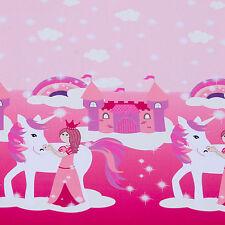 Hilco Jersey The macigal Unicorn rosa Bordüre Meterware Kinderstoff 90 cm