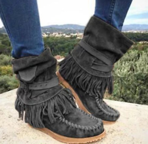 Womens Casual Ankle Tassel Snow Boots Flat Round Toe Stretch Warm Bootie Shoes