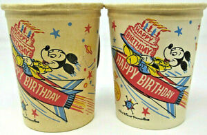 Walt Disney Productions Mickey Mouse Happy Birthday Rocket Sputnik Paper Cup VTG