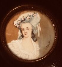 Antique Miniature portrait on Ivory Painting of Princess Lamballe, Signed Rioult