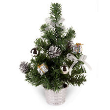 30cm Artificial Christmas Tree with Silver Tinsel Flecks and Pine Cones