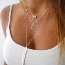 Necklace Jewelry Long 3-layer choker Womens Feather leaf turquoise Pendant Chain