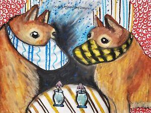 FINNISH SPITZ in Mask Original 9x12 Pastel Painting Dog Art Signed Artist KSams