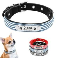 Soft Leather Personalised Pet Puppy Small Dog Collars with Name Plate Engraved