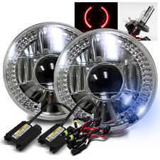 """7"""" Round Semi-Sealed Glass Lens Red LED Projector Headlights + 8000K H4-2 HID"""