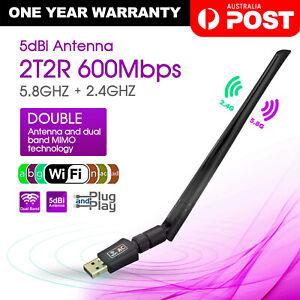 USB WiFi Wireless Adapter 802.11ac AC600 Dongle WPS 5GHz Dual Band 5dBi Antenna