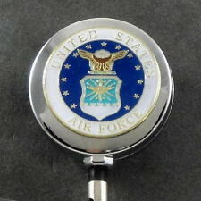 Air Force ID Holder US USA USAF Retractable Badge Reel Emblem Chrome Military