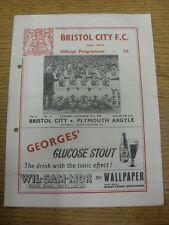 27/12/1955 Bristol City v Plymouth Argyle  (Creased, Folded, Punched Holed, Scor