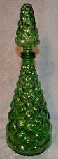 Vintage 15.5 in. Empoli Green Hobnail Bubble Glass Genie Bottle Stopper Decanter