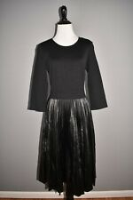 ST. JOHN COLLECTION NEW $1295 Milan Knit & Faux Leather Pleated Dress Size 4
